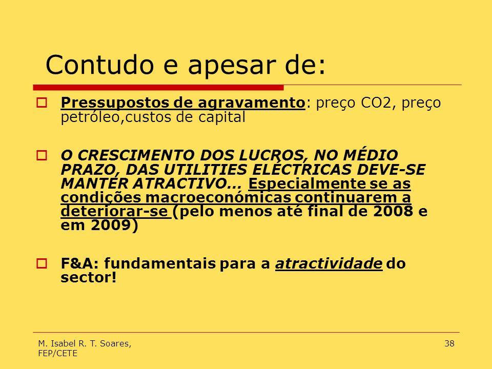 M. Isabel R. T. Soares, FEP/CETE 38 Contudo e apesar de: Pressupostos de agravamento: preço CO2, preço petróleo,custos de capital O CRESCIMENTO DOS LU