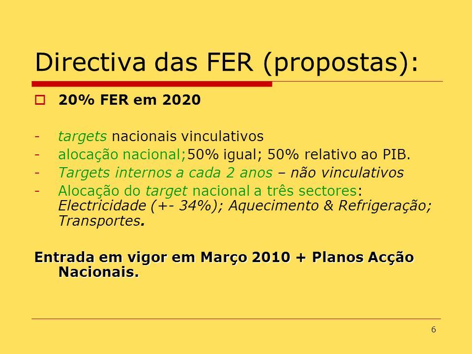 6 Directiva das FER (propostas): 20% FER em 2020 -targets nacionais vinculativos -alocação nacional;50% igual; 50% relativo ao PIB. -Targets internos