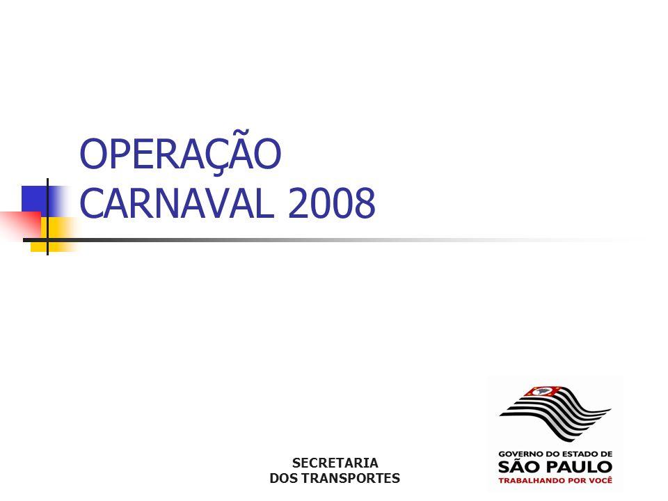 Operação Carnaval 2008 Cenário – Frota de veículos Frota paulista – 16,4 milhões Motos – 2,8 milhões Crescimento 2002-2006: Veículos: 23% Motocicletas: 72% 2,7 habitantes por veículo Setembro 2007, na capital, por dia: emplacamento de novos 635 carros e 235 motos