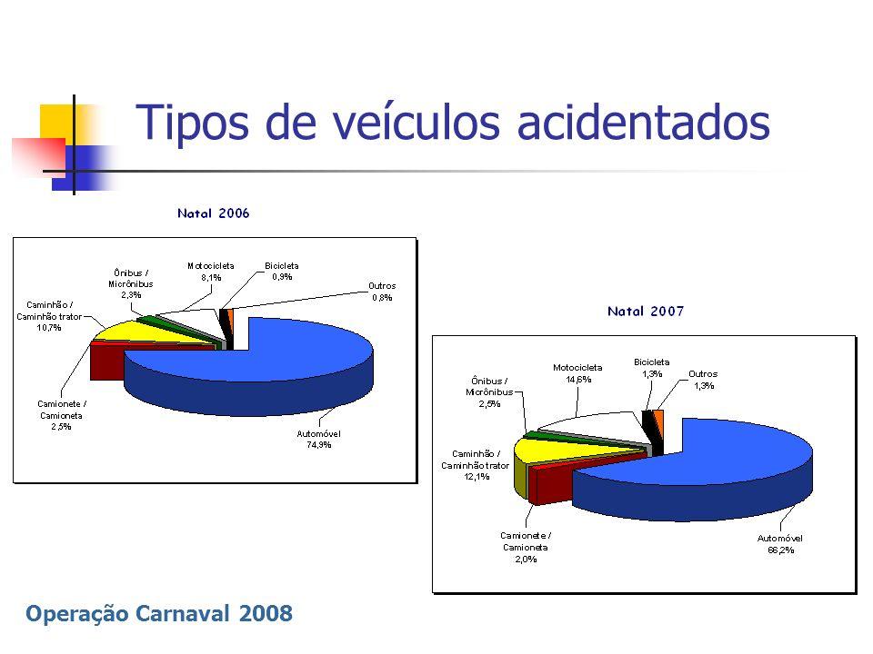 Operação Carnaval 2008 Tipos de veículos acidentados