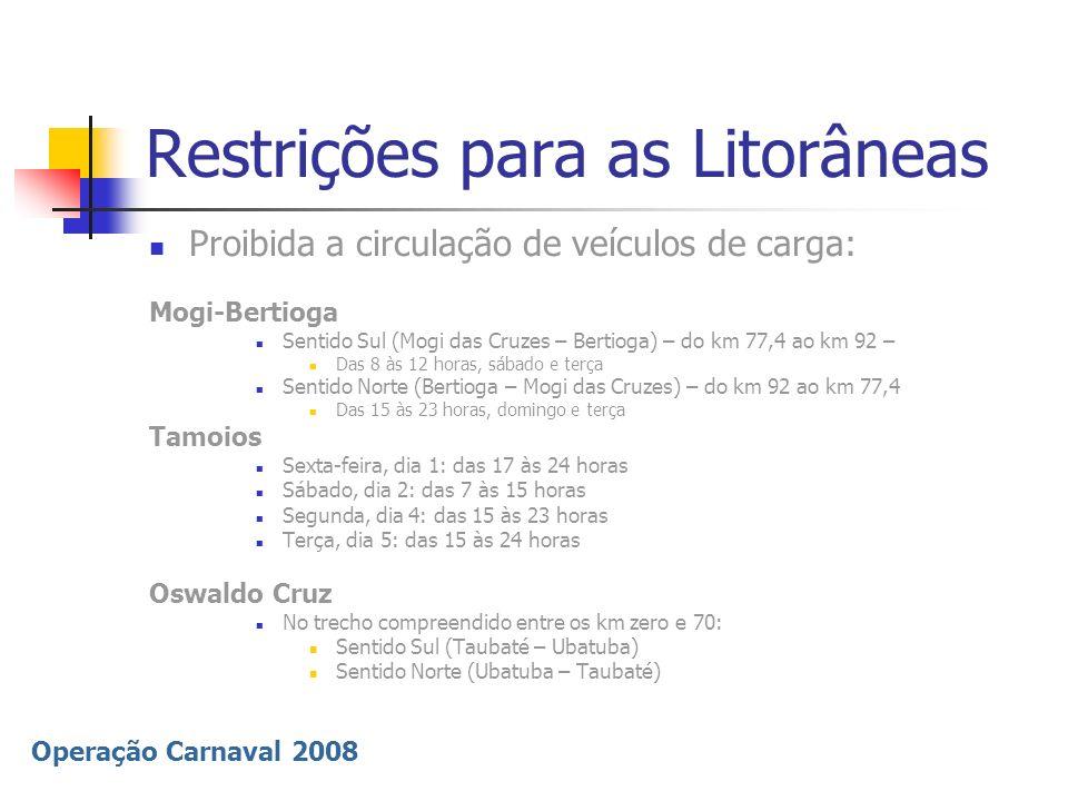 Operação Carnaval 2008 Ampliação do atendimento ao usuário Reforço das equipes + 150% na Polícia Rodoviária Colaboração de outras unidades da PM Pontos de apoio DER na Tamoios (km 34); SP-55 (km 214); SP-123 (km 8,5); Mogi-Bertioga e Oswaldo Cruz Pontos de apoio DERSA na Ayrton Senna, D.