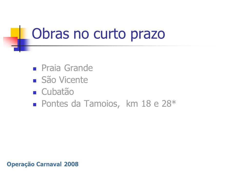Operação Carnaval 2008 Informação à Imprensa Câmeras on-line para acompanhar movimentação www.der.sp.gov.br www.dersa.sp.gov.br www.polmil.sp.gov.br www.autoban.com.br www.ecovias.com.br www.viaoeste.com.br DER/ DERSA O800 055 55 10 Disque Travessias (13) 3358-2741 Informações à Imprensa: Central de Operações e Informações - COI – DER/DERSA 11 3311-2335/ 2337 Polícia Rodoviária 11 3327-2631 / 2625 / 2627 Assessorias de Imprensa: Secretaria dos Transportes 11 6763-7111/7113 Artesp 11 6763-7358 DERSA 11 6763-7175 Sistema Anchieta/Imigrantes - Ecovias - 11 4358-8630 (0800 19 78 78 / usuário) Sistema Anhanguera/Bandeirantes - AutoBan - 11 4589-4175 (0800 055 55 50) Sistema Raposo Tavares / Castello Branco - ViaOeste - 11 4136-6131 (0800 701 55 55)