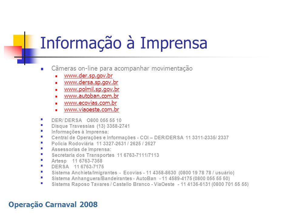 Operação Carnaval 2008 Informação à Imprensa Câmeras on-line para acompanhar movimentação www.der.sp.gov.br www.dersa.sp.gov.br www.polmil.sp.gov.br w