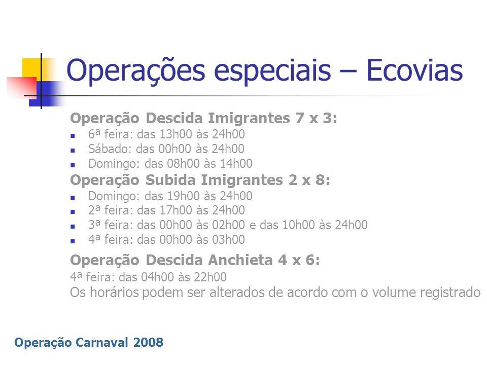 Operação Carnaval 2008 Operações especiais – Ecovias Operação Descida Imigrantes 7 x 3: 6ª feira: das 13h00 às 24h00 Sábado: das 00h00 às 24h00 Doming