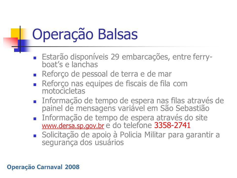 Operação Carnaval 2008 Operação Balsas Estarão disponíveis 29 embarcações, entre ferry- boats e lanchas Reforço de pessoal de terra e de mar Reforço n