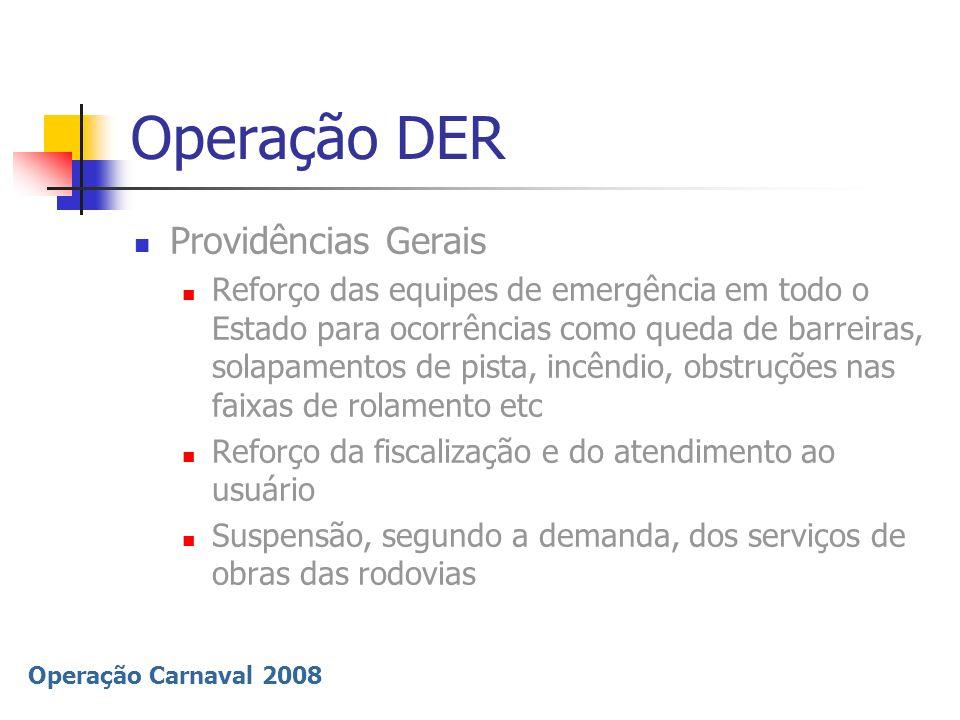 Operação Carnaval 2008 Operação DER Providências Gerais Reforço das equipes de emergência em todo o Estado para ocorrências como queda de barreiras, s