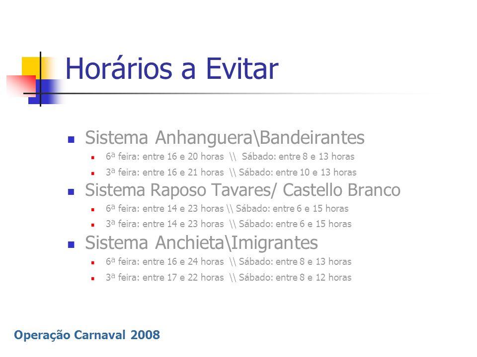 Operação Carnaval 2008 Horários a Evitar Sistema Anhanguera\Bandeirantes 6ª feira: entre 16 e 20 horas \\ Sábado: entre 8 e 13 horas 3ª feira: entre 1