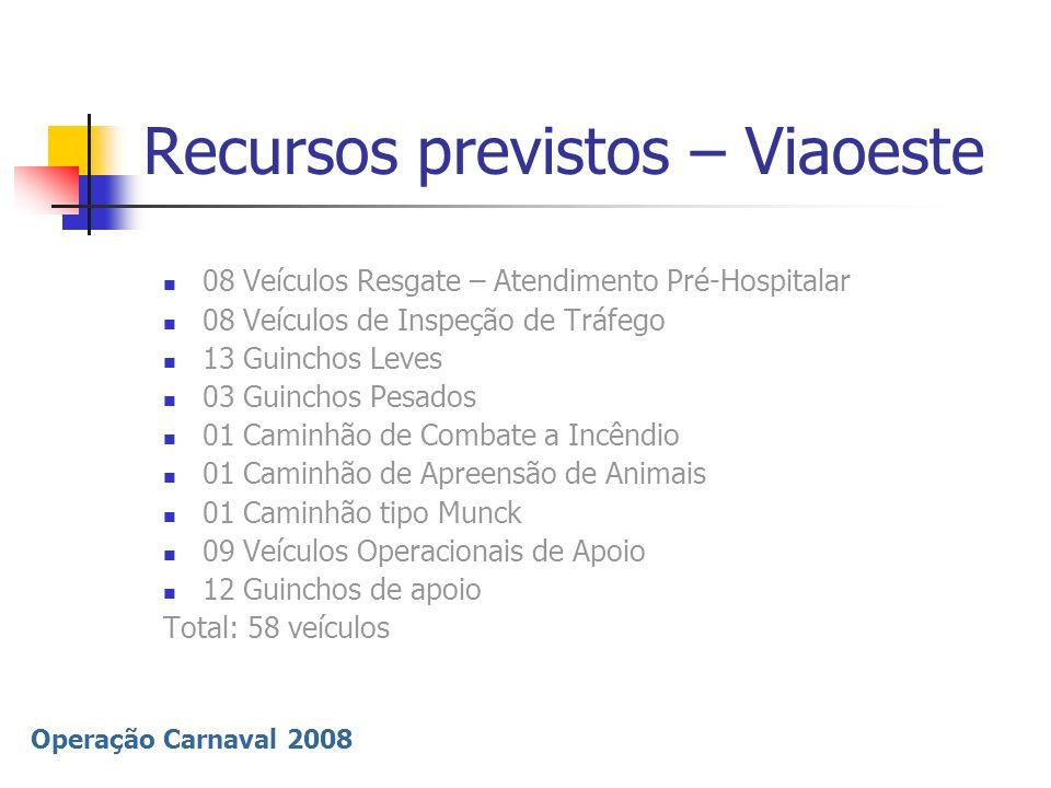 Operação Carnaval 2008 Recursos previstos – Viaoeste 08 Veículos Resgate – Atendimento Pré-Hospitalar 08 Veículos de Inspeção de Tráfego 13 Guinchos L