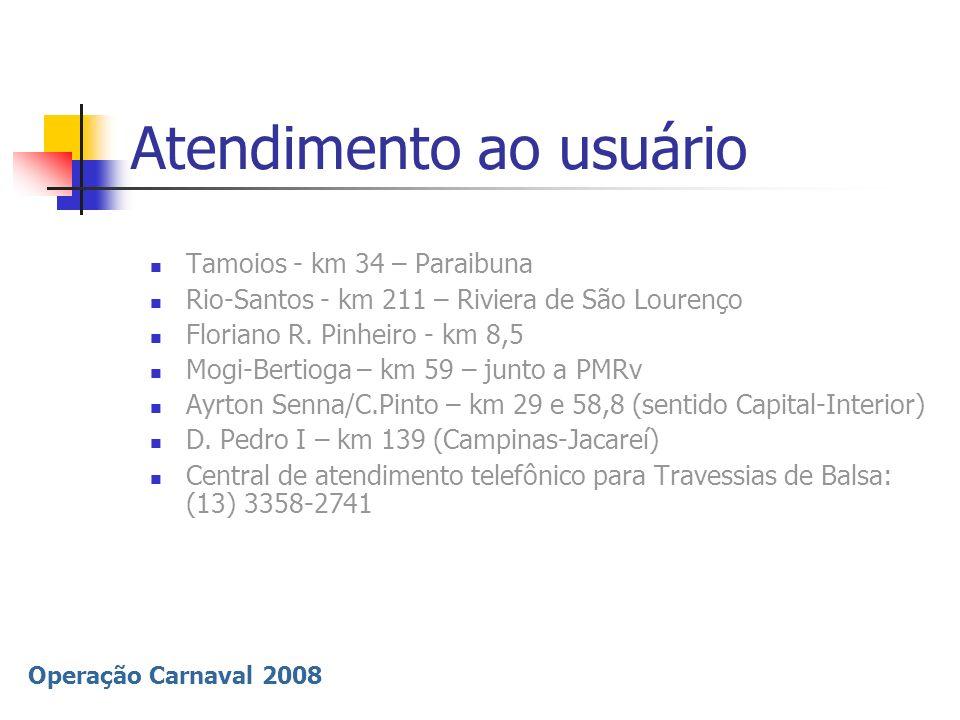 Operação Carnaval 2008 Atendimento ao usuário Tamoios - km 34 – Paraibuna Rio-Santos - km 211 – Riviera de São Lourenço Floriano R. Pinheiro - km 8,5
