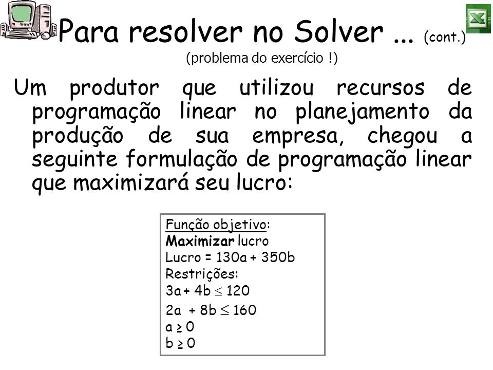 Um produtor que utilizou recursos de programação linear no planejamento da produção de sua empresa, chegou a seguinte formulação de programação linear