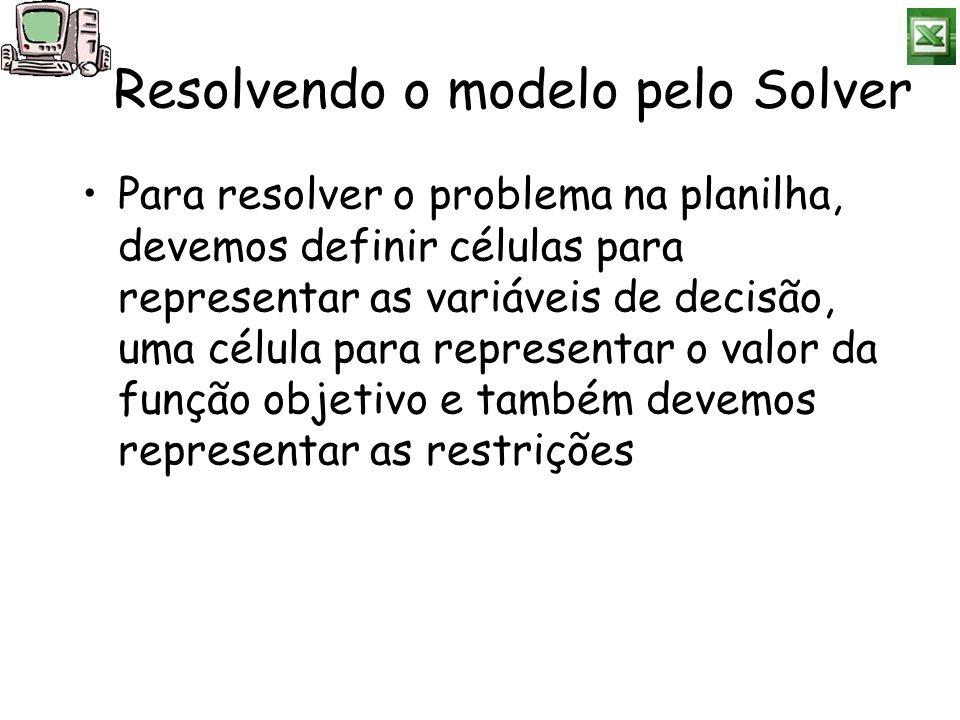 Resolvendo o modelo pelo Solver Para resolver o problema na planilha, devemos definir células para representar as variáveis de decisão, uma célula par