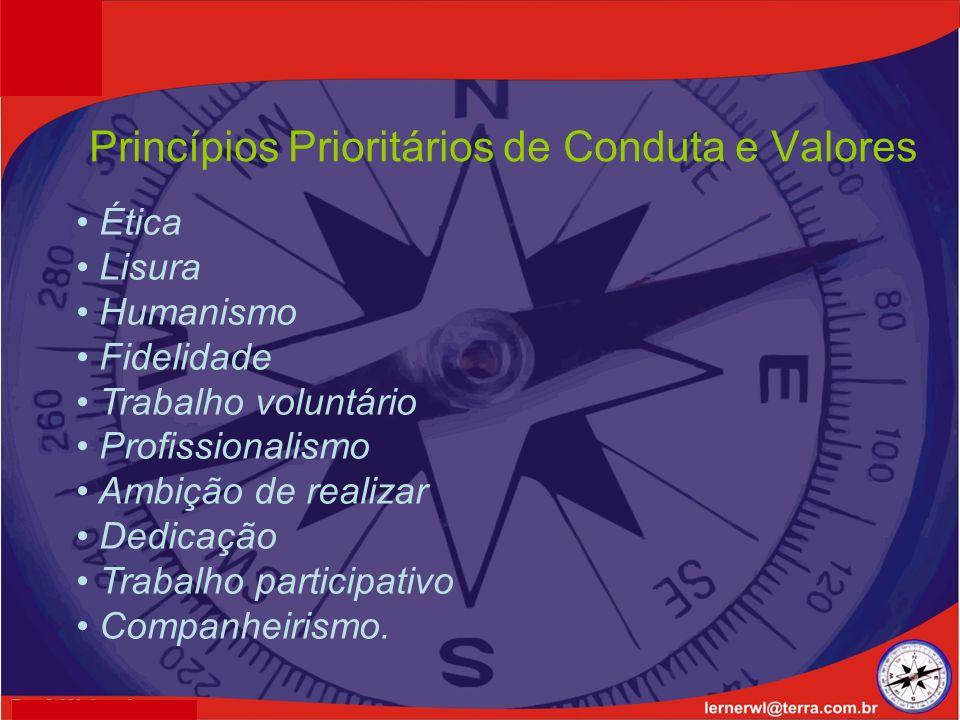 Princípios Prioritários de Conduta e Valores Ética Lisura Humanismo Fidelidade Trabalho voluntário Profissionalismo Ambição de realizar Dedicação Trabalho participativo Companheirismo.