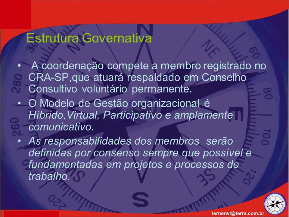 Estrutura Governativa A coordenação compete a membro registrado no CRA-SP,que atuará respaldado em Conselho Consultivo voluntário permanente.