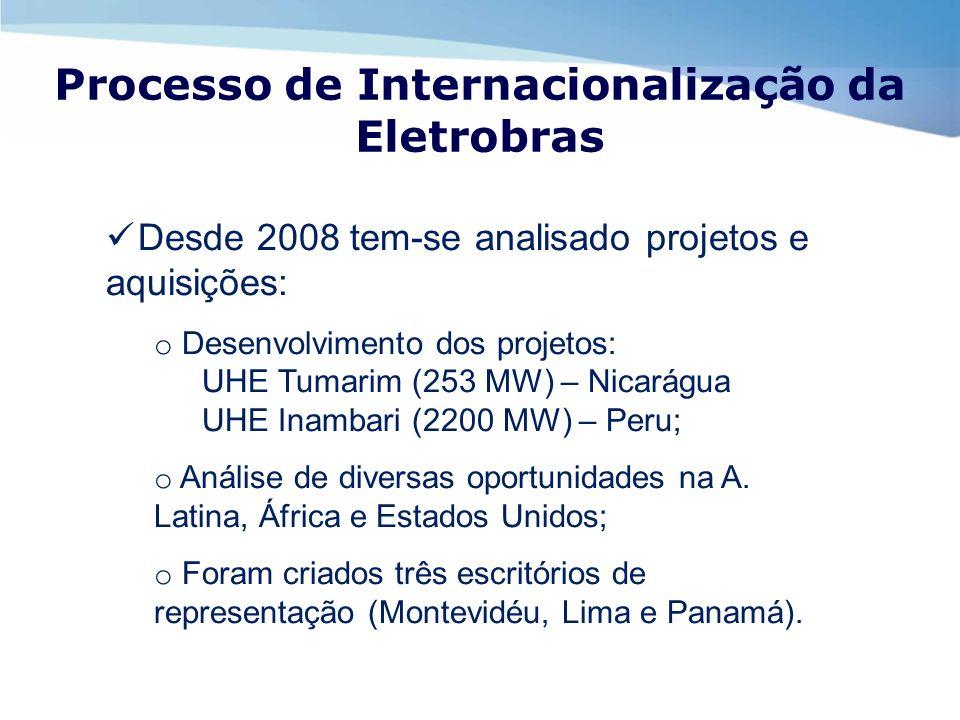 Processo de Internacionalização da Eletrobras Desde 2008 tem-se analisado projetos e aquisições: o Desenvolvimento dos projetos: UHE Tumarim (253 MW)