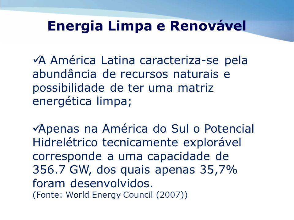 Energia Limpa e Renovável A América Latina caracteriza-se pela abundância de recursos naturais e possibilidade de ter uma matriz energética limpa; Ape