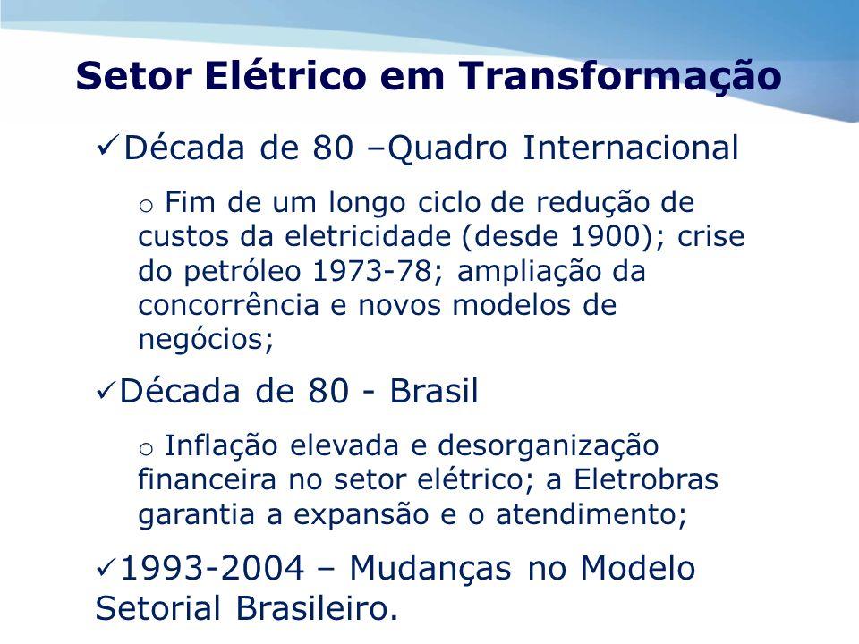 Setor Elétrico em Transformação Década de 80 –Quadro Internacional o Fim de um longo ciclo de redução de custos da eletricidade (desde 1900); crise do