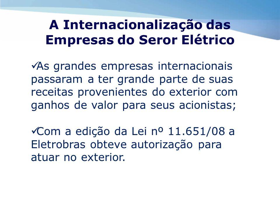 A Internacionalização das Empresas do Seror Elétrico As grandes empresas internacionais passaram a ter grande parte de suas receitas provenientes do e