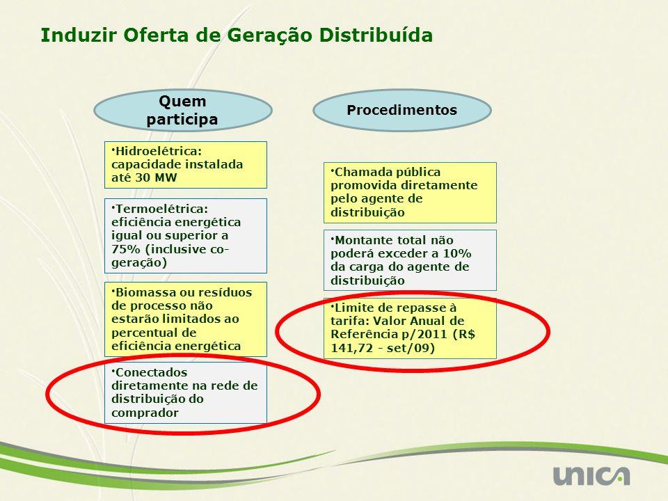 Hidroelétrica: capacidade instalada até 30 MW Termoelétrica: eficiência energética igual ou superior a 75% (inclusive co- geração) Biomassa ou resíduo