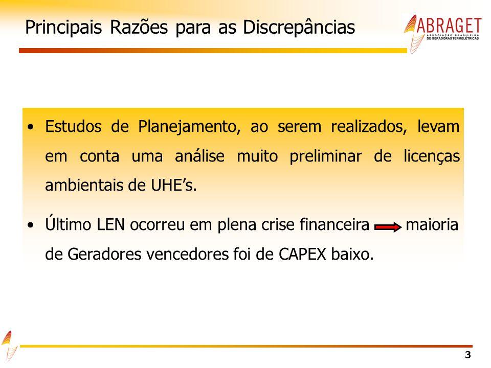 3 Principais Razões para as Discrepâncias Estudos de Planejamento, ao serem realizados, levam em conta uma análise muito preliminar de licenças ambientais de UHEs.