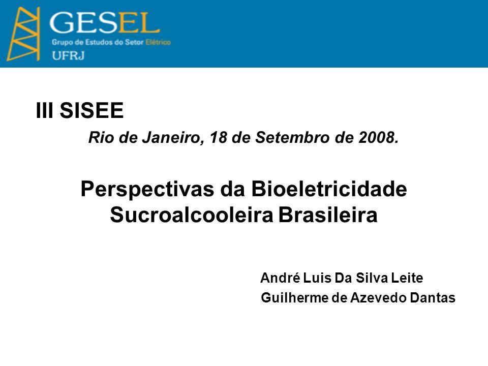 III SISEE Rio de Janeiro, 18 de Setembro de 2008. Perspectivas da Bioeletricidade Sucroalcooleira Brasileira André Luis Da Silva Leite Guilherme de Az