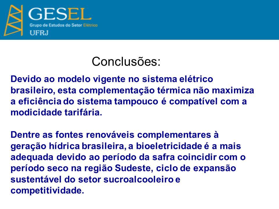 Conclusões: Devido ao modelo vigente no sistema elétrico brasileiro, esta complementação térmica não maximiza a eficiência do sistema tampouco é compa