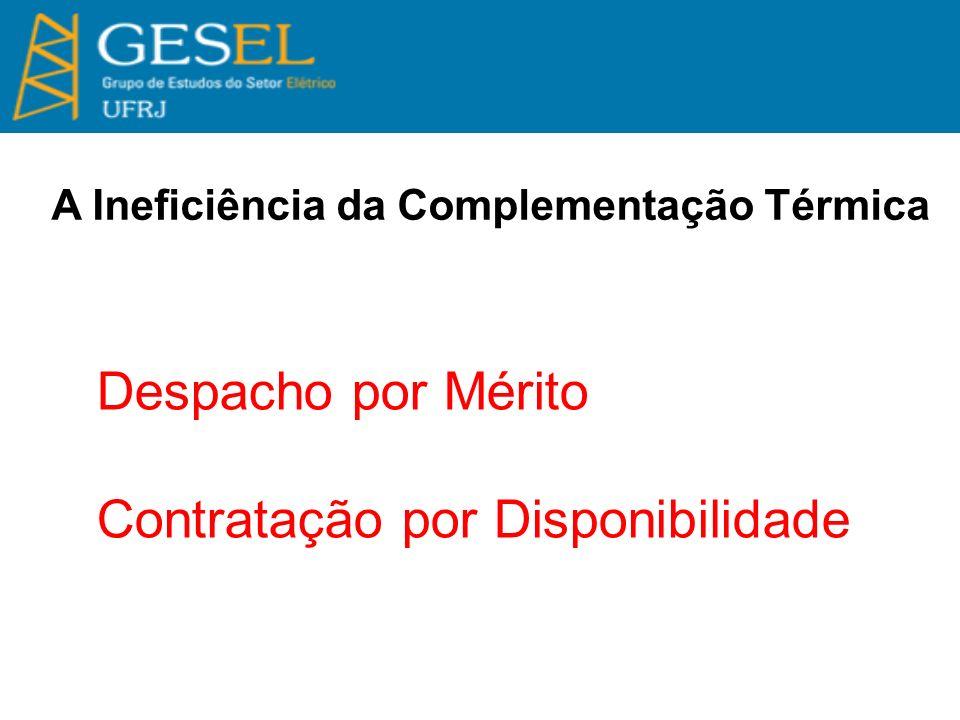 A Ineficiência da Complementação Térmica Despacho por Mérito Contratação por Disponibilidade