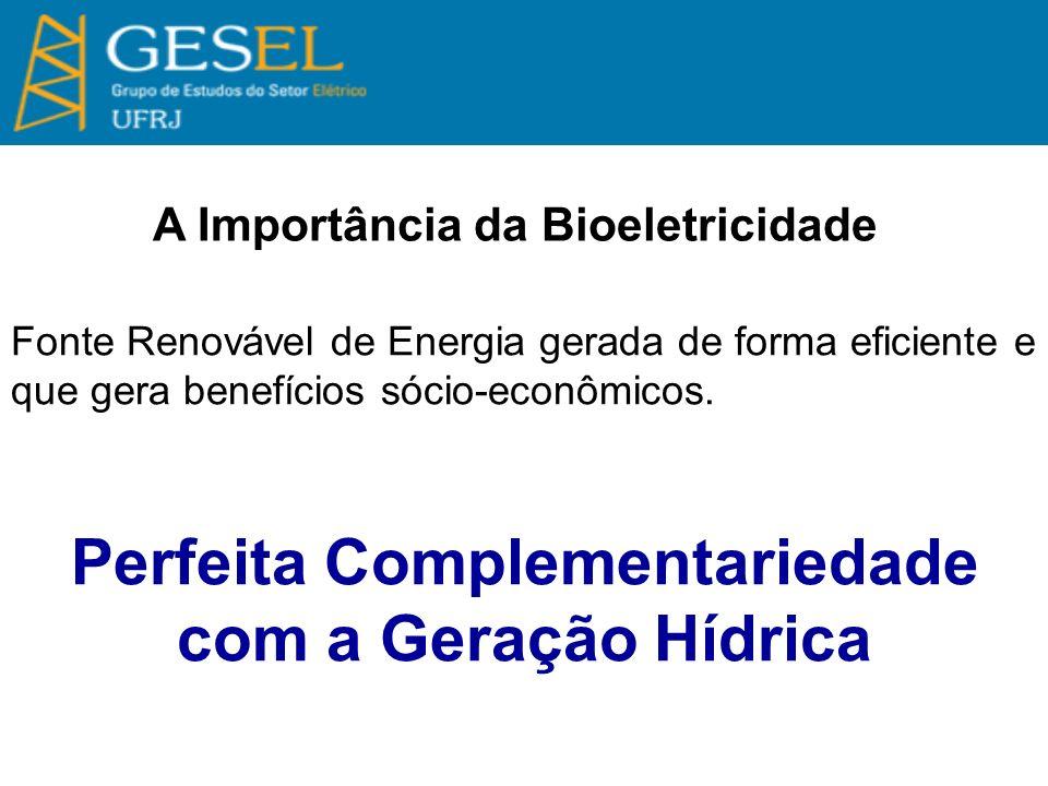 A Importância da Bioeletricidade Fonte Renovável de Energia gerada de forma eficiente e que gera benefícios sócio-econômicos. Perfeita Complementaried