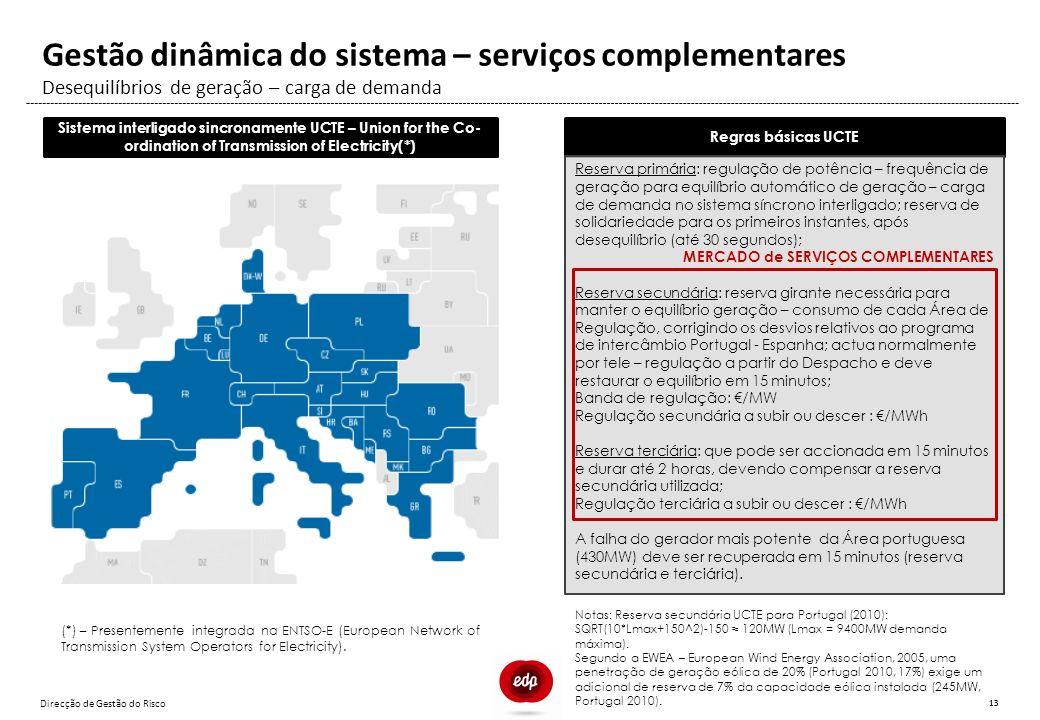 Direcção de Gestão do Risco 13 Desequilíbrios de geração – carga de demanda Gestão dinâmica do sistema – serviços complementares Regras básicas UCTE R