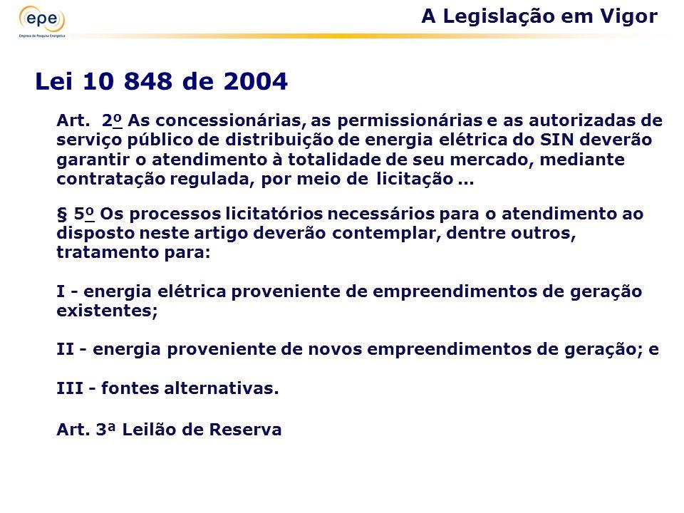 Lei 10 848 de 2004 Art. 2º As concessionárias, as permissionárias e as autorizadas de serviço público de distribuição de energia elétrica do SIN dever