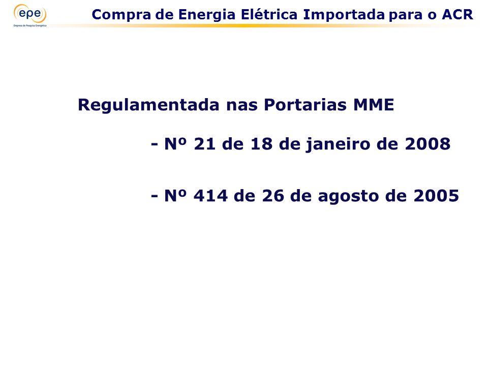 Compra de Energia Elétrica Importada para o ACR Regulamentada nas Portarias MME - Nº 21 de 18 de janeiro de 2008 - Nº 414 de 26 de agosto de 2005