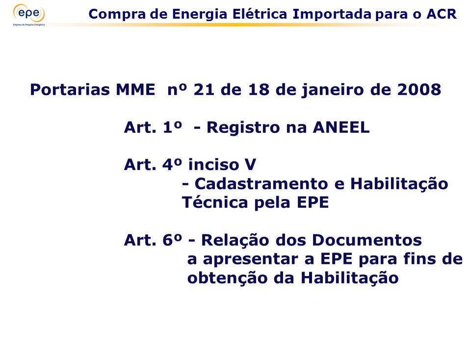 Portarias MME nº 21 de 18 de janeiro de 2008 Art. 1º - Registro na ANEEL Art. 4º inciso V - Cadastramento e Habilitação Técnica pela EPE Art. 6º - Rel