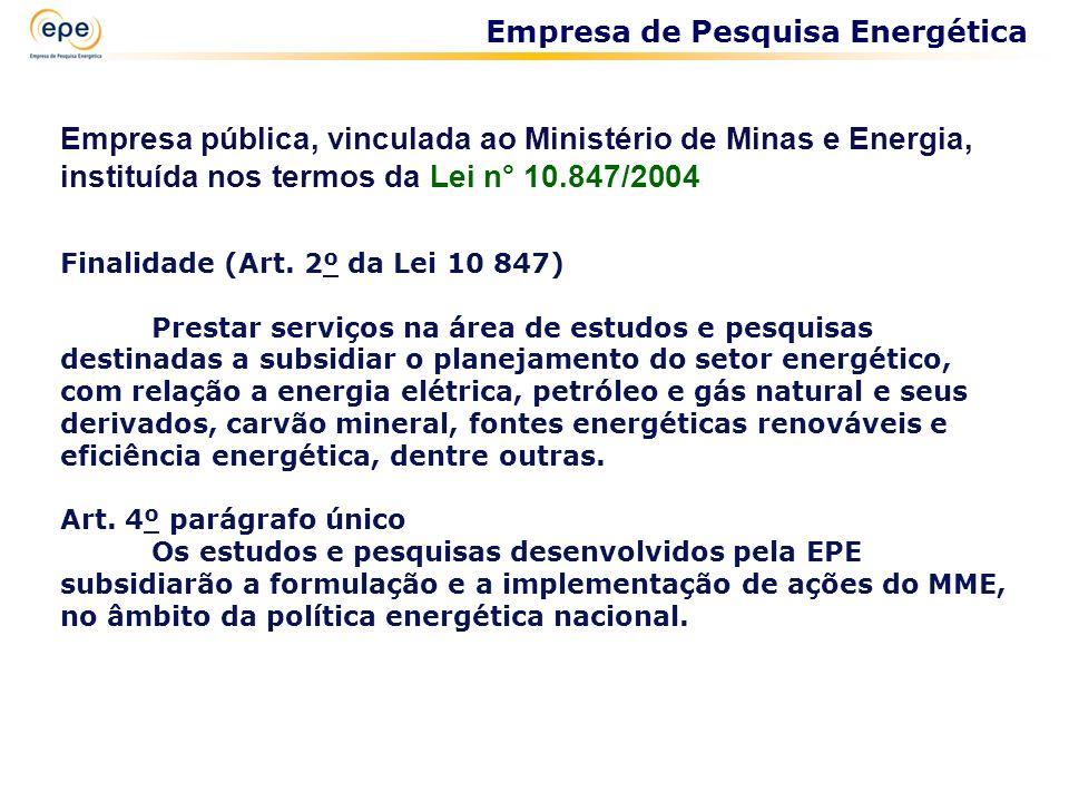 Empresa pública, vinculada ao Ministério de Minas e Energia, instituída nos termos da Lei n° 10.847/2004 Finalidade (Art. 2º da Lei 10 847) Prestar se