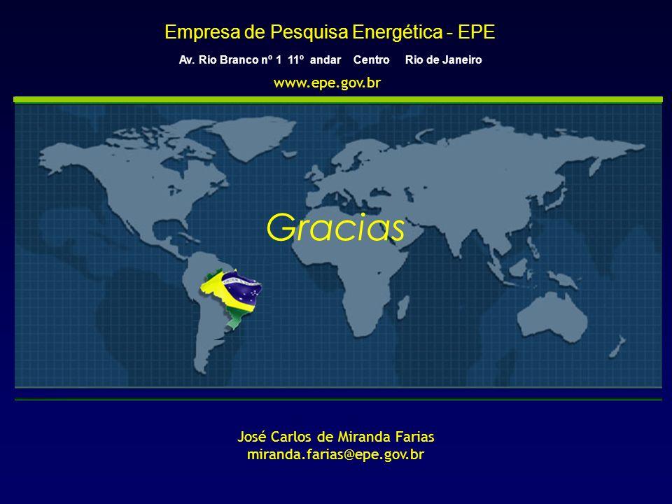 Empresa de Pesquisa Energética - EPE Av. Rio Branco nº 1 11º andar Centro Rio de Janeiro Gracias José Carlos de Miranda Farias miranda.farias@epe.gov.