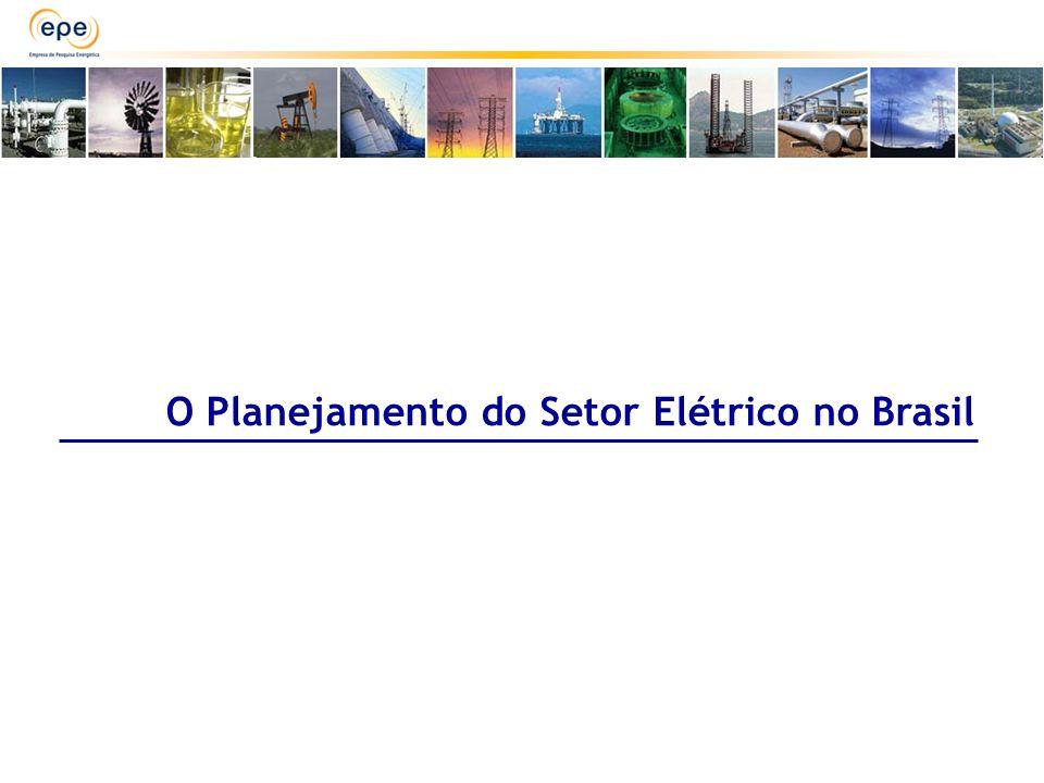 PREDOMINÂNCIA HIDRELÉTRICA GRANDES INTERLIGAÇÕES CAPITAL INTENSIVO INVESTIMENTOS DE LONGA MATURAÇÃO GRANDES INCERTEZAS MÚLTIPLOS OBJETIVOS COMPLEMENTARIEDADE E SAZONALIDADE Planejamento do Setor Elétrico no Brasil SEGURANÇA ENERGÉTICA MODICIDADE TARIFÁRIA DIVERSIFICAÇÃO INTEGRAÇÃO