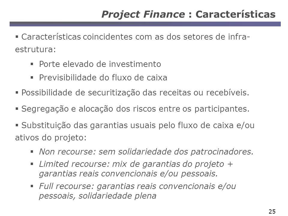 25 Project Finance : Características Características coincidentes com as dos setores de infra- estrutura: Porte elevado de investimento Previsibilidade do fluxo de caixa Possibilidade de securitização das receitas ou recebíveis.