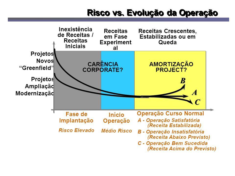 Projetos Ampliação Modernização Fase de Implantação Risco Elevado Início Operação Médio Risco Operação Curso Normal Receitas em Fase Experiment al A - Operação Satisfatória (Receita Estabilizada) B - Operação Insatisfatória (Receita Abaixo Previsto) C - Operação Bem Sucedida (Receita Acima do Previsto) Receitas Crescentes, Estabilizadas ou em Queda Projetos Novos Greenfield Inexistência de Receitas / Receitas Iniciais Risco vs.