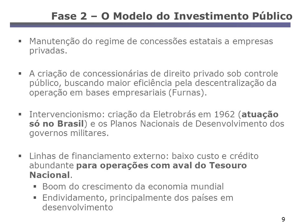10 Fase 2 – O Modelo do Investimento Público Cria-se um sistema elétrico integrado por linhas de transmissão e com base em grandes usinas hidroelétricas.