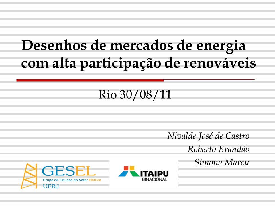 Desenhos de mercados de energia com alta participação de renováveis Rio 30/08/11 Nivalde José de Castro Roberto Brandão Simona Marcu