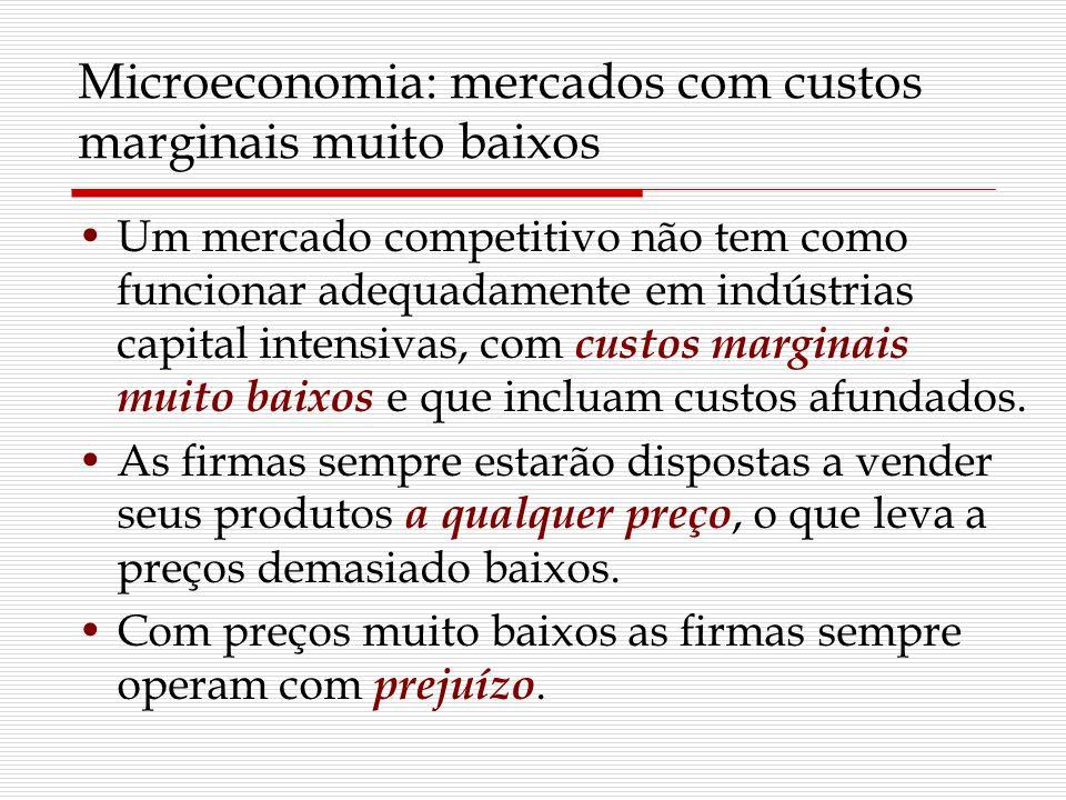 Microeconomia: mercados com custos marginais muito baixos Um mercado competitivo não tem como funcionar adequadamente em indústrias capital intensivas