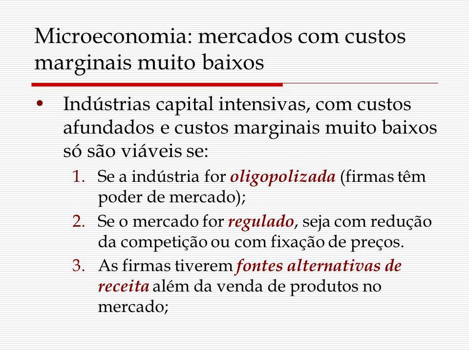 Microeconomia: mercados com custos marginais muito baixos Indústrias capital intensivas, com custos afundados e custos marginais muito baixos só são v