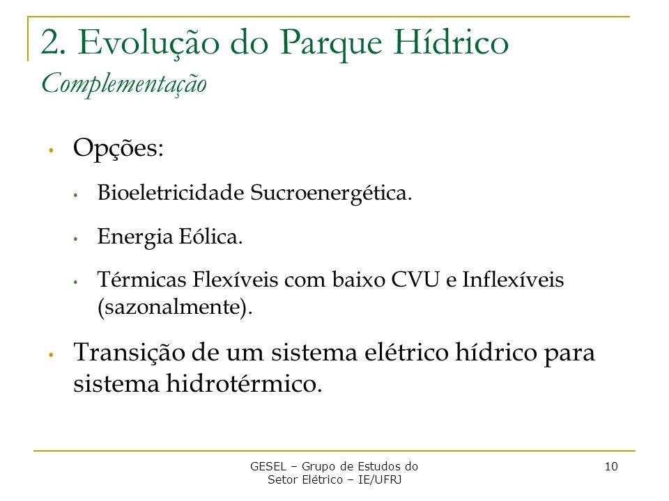 Opções: Bioeletricidade Sucroenergética. Energia Eólica. Térmicas Flexíveis com baixo CVU e Inflexíveis (sazonalmente). Transição de um sistema elétri