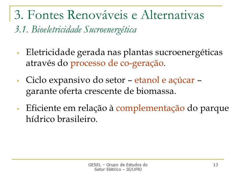 3. Fontes Renováveis e Alternativas 3.1. Bioeletricidade Sucroenergética Eletricidade gerada nas plantas sucroenergéticas através do processo de co-ge