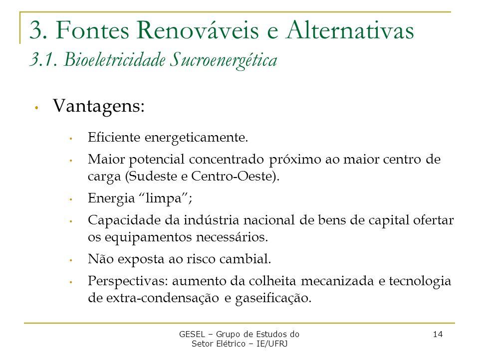 3. Fontes Renováveis e Alternativas 3.1. Bioeletricidade Sucroenergética Vantagens: Eficiente energeticamente. Maior potencial concentrado próximo ao