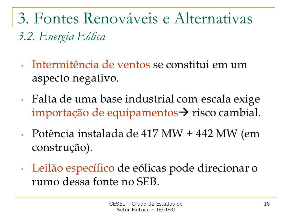 3. Fontes Renováveis e Alternativas 3.2. Energia Eólica Intermitência de ventos se constitui em um aspecto negativo. Falta de uma base industrial com