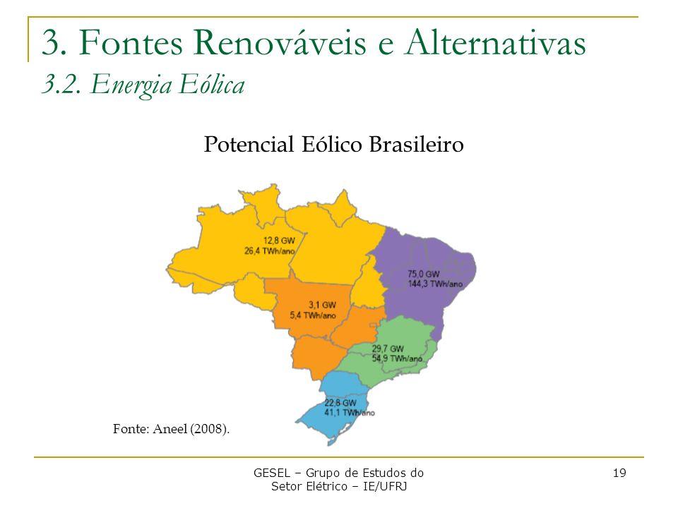 3. Fontes Renováveis e Alternativas 3.2. Energia Eólica GESEL – Grupo de Estudos do Setor Elétrico – IE/UFRJ 19 Fonte: Aneel (2008). Potencial Eólico