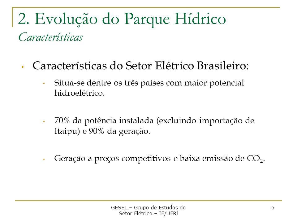 Características do Setor Elétrico Brasileiro: Situa-se dentre os três países com maior potencial hidroelétrico. 70% da potência instalada (excluindo i