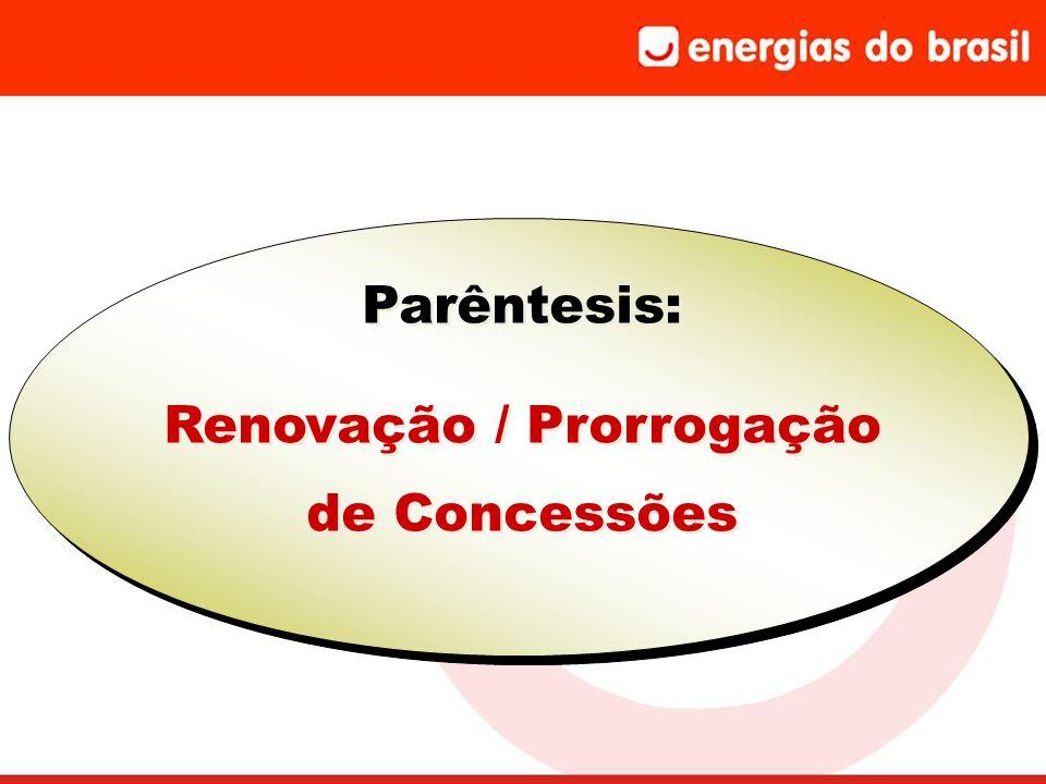 Parêntesis: Renovação / Prorrogação de Concessões Parêntesis: Renovação / Prorrogação de Concessões