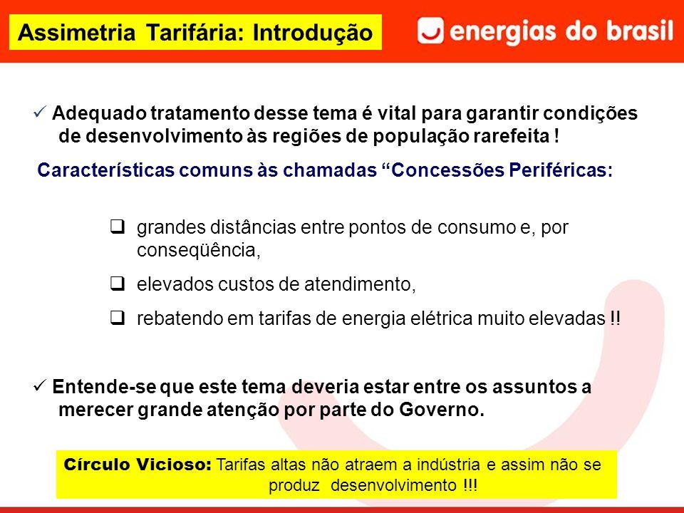 Assimetria Tarifária: Introdução Adequado tratamento desse tema é vital para garantir condições de desenvolvimento às regiões de população rarefeita .