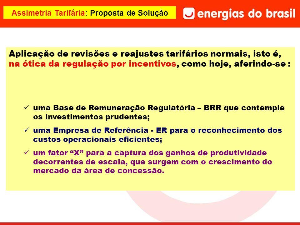Assimetria Tarifária: Proposta de Solução Aplicação de revisões e reajustes tarifários normais, isto é, na ótica da regulação por incentivos, como hoj
