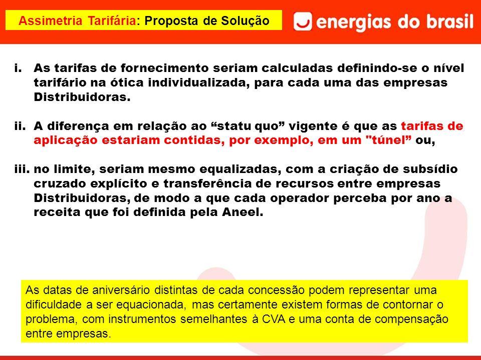 Assimetria Tarifária: Proposta de Solução i.As tarifas de fornecimento seriam calculadas definindo-se o nível tarifário na ótica individualizada, para cada uma das empresas Distribuidoras.